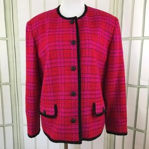Liz Claiborne Pink Button Down Tweed CareerBlazer